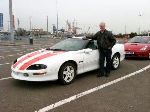 I färjelägret vid Harwich april 2011 i väntan på att få köra ombord på färjan till Danmark och vidare färd till Sverige.